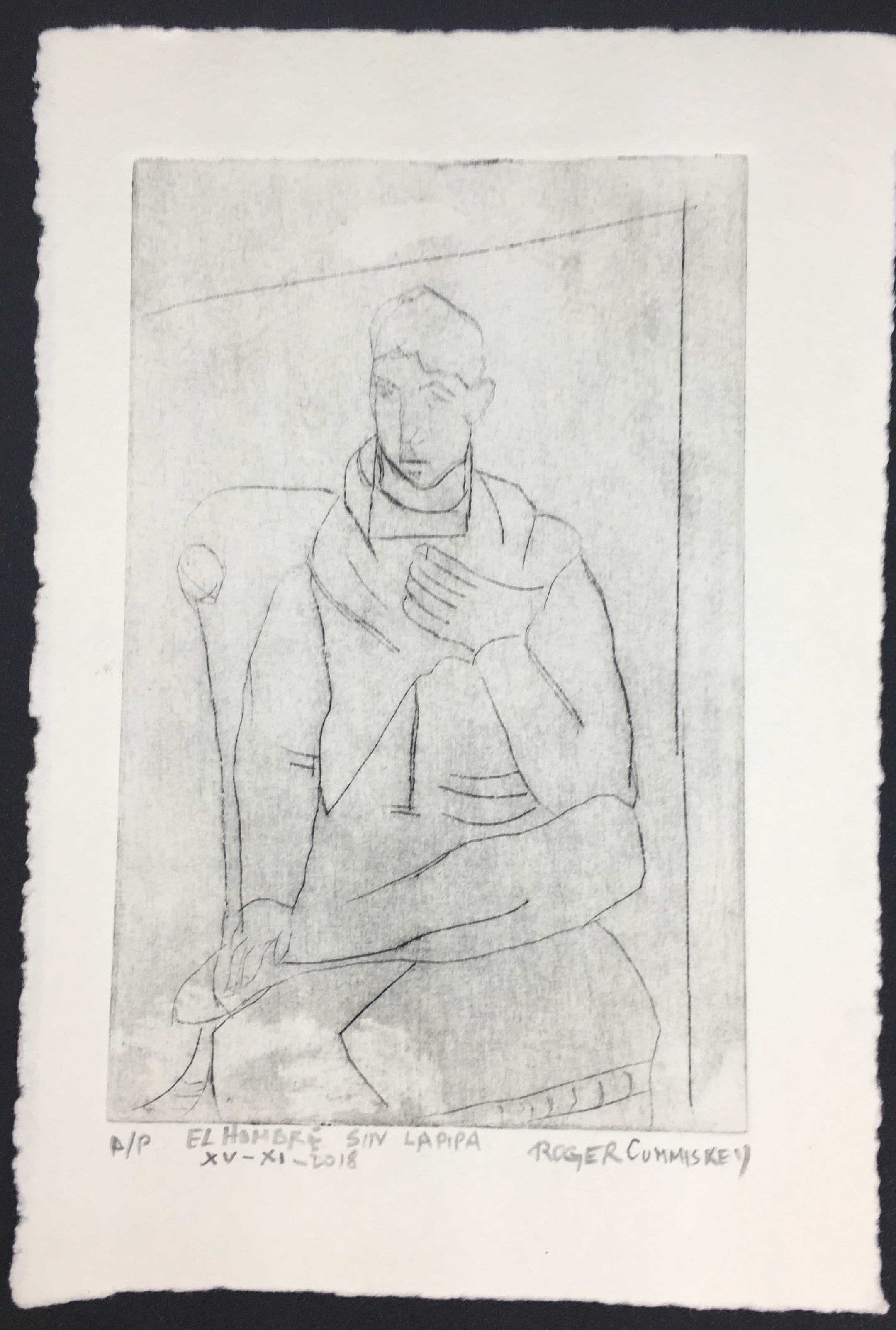 Le homme sin pipa, etching.