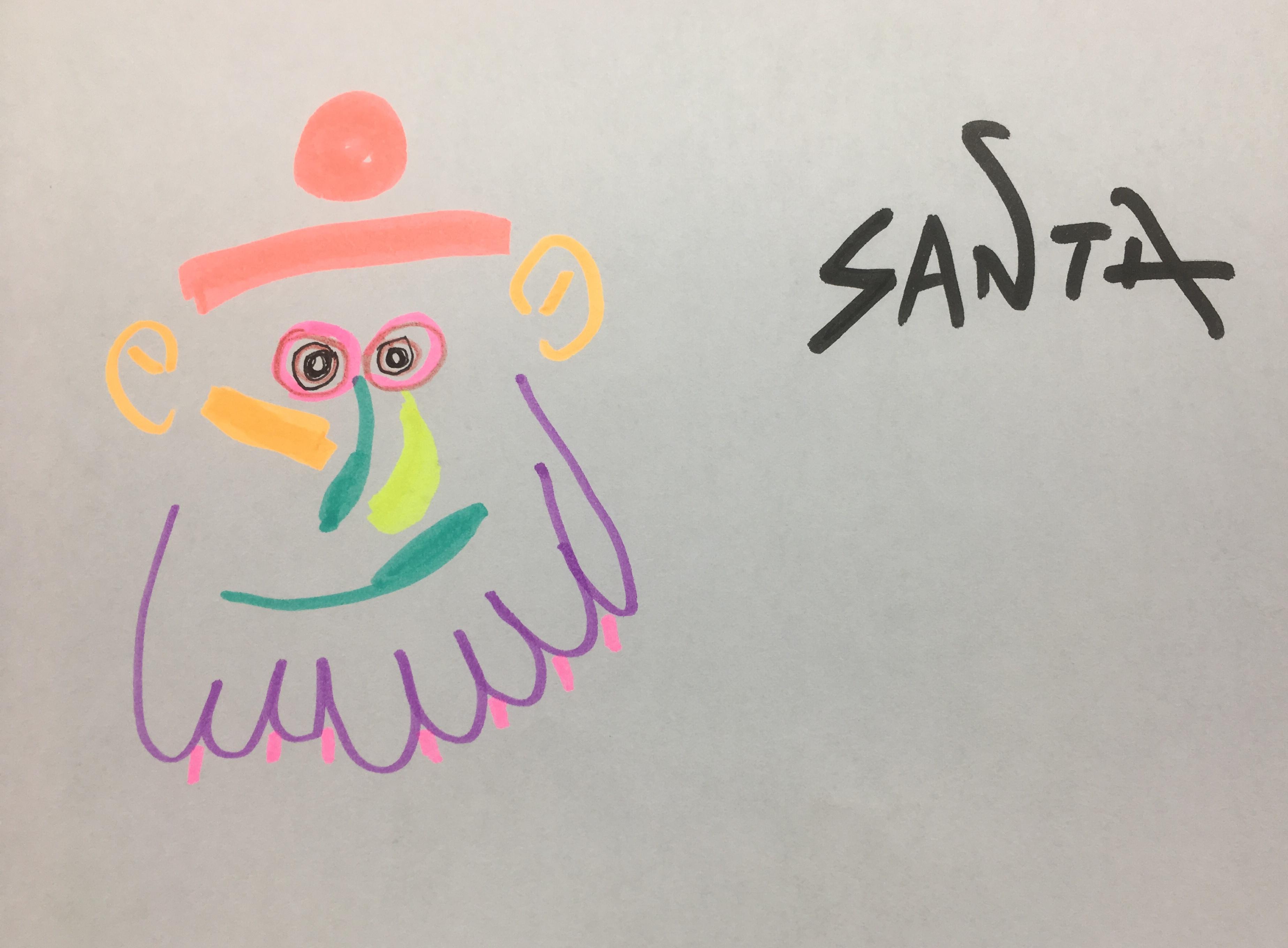 Santa after Picasso - cartoon.
