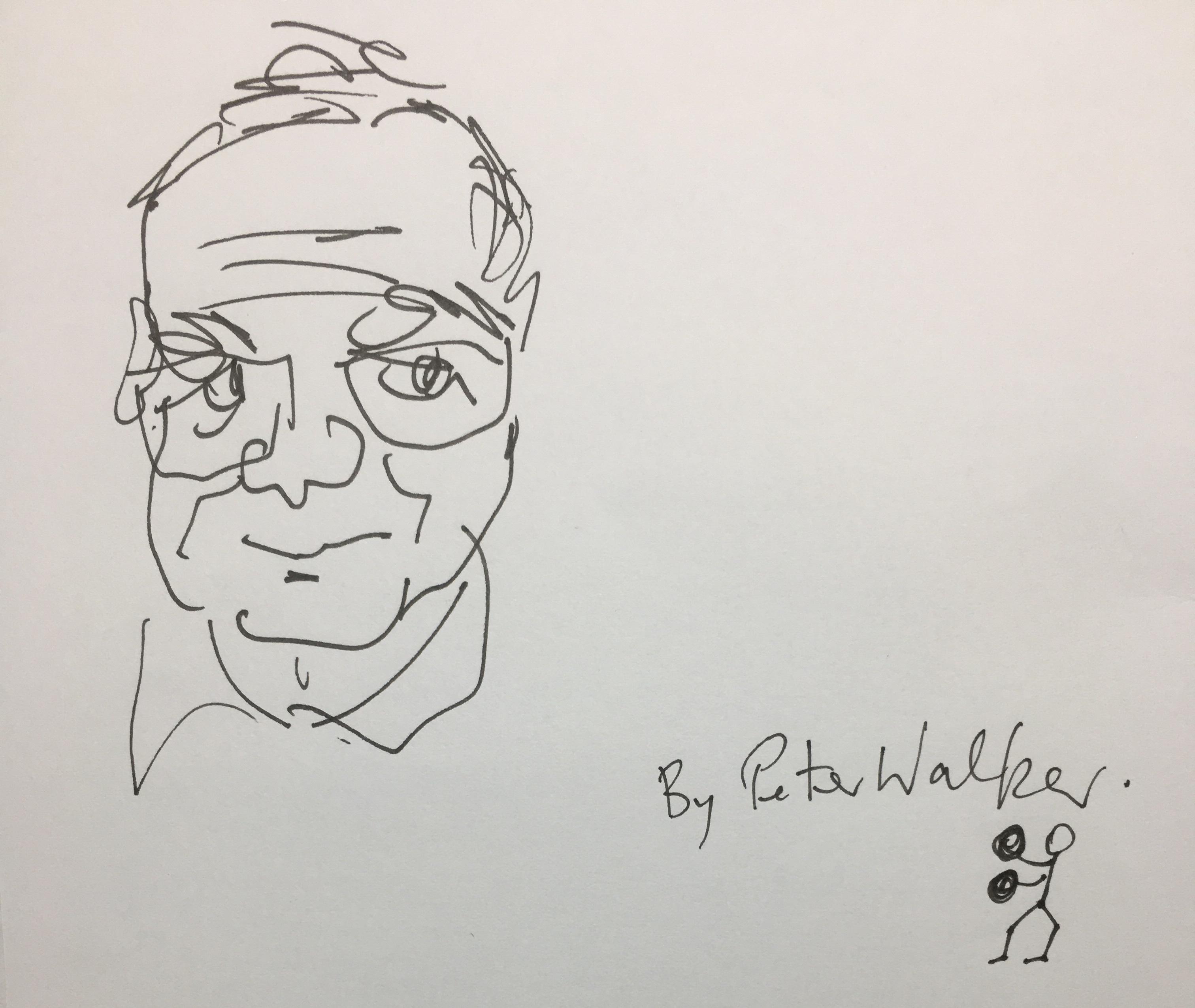 Roger, ink drawing by Peter Walker