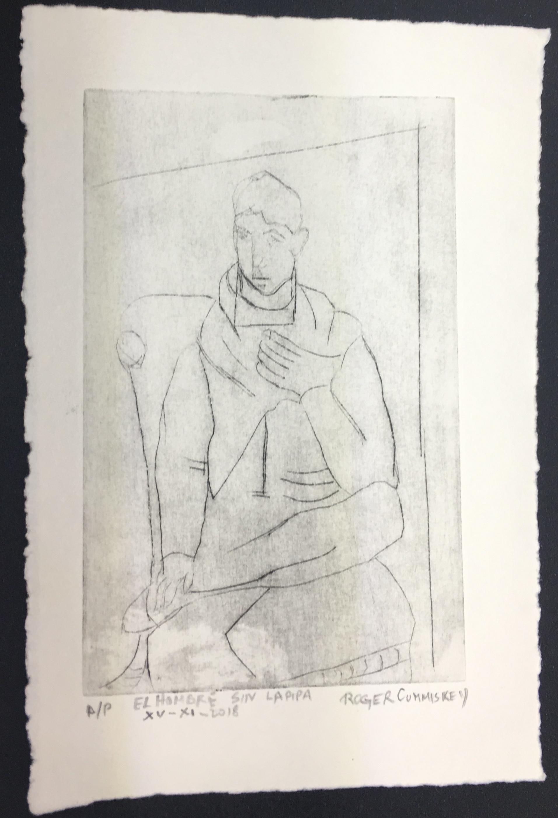 El hombre sin la pipa - etching